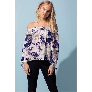 Yumi Kim Aloha Floral Off-The-Shoulder Silk Blouse